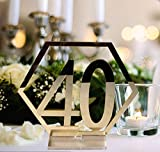 Fashionclubs Table Numbers, 1-40 Wedding Acrylic Table Numbers with Holder Base Party Card Table Holder,Hexagon Shape,Perfect for Wedding Reception and Decoration,Gold