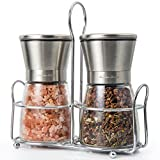 Salt and Pepper Grinder Set with Stand Premium Stainless Steel Salt and Pepper Shakers with Ceramic...