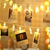 LED String Lights, Gledto Photo Display Clip Decorative Lights 20 LEDs 6.6 Feet for Bedroom, Patio, Parties, Wedding,Indoor, Outdoor, Marriage proposal, Dorm Room(Battery Powered,Warm White)