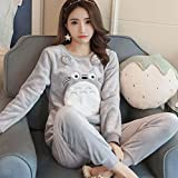 Women 's Pajamas Autumn and Winter Thick Cute Flannel Home Clothing Suit Warm , l , A