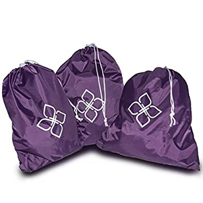 Alku Travel Nylon Shoe and Laundry Bags 3-pack Set Water-resistant Large Purple