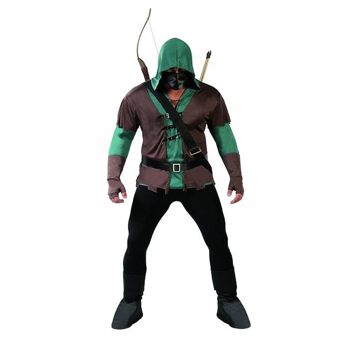 Vestimenta Medieval con Arco Disfraz Arquero L 52/54 rol en Vivo Caminante de los bosques Atuendo espía Ballestero Adulto Ropa Carnaval Robin Hood: ...