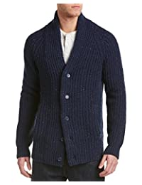 Just A Cheap Shirt Mens Jachs Donegal Wool Shawl Collar Cardigan, S, Blue