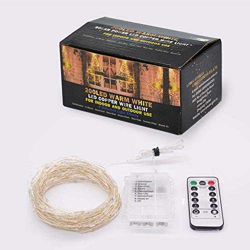 ETHINK 200 LED 65.6ft Auto Timer 8 Modes Remote Control Battery Operated Waterproof Dimmable Fairy String Copper Wire Lights for Christmas, Bedroom, Party, Patio, Wedding, Warm White (200LED) by ETHINK (Image #6)