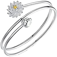Hosaire Fashion Bracelet Crystal Charm Silver Lotus Chain For Womens Girls Party Jewellery