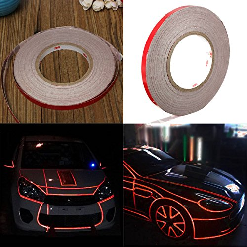 AUDEW 45m x 10mm Car Reflective Body Rim - Reflective Red Tape