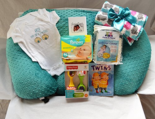 Twin Z Pillow GOLD GIFT BOX - Twin Z Pillow + 1 Cream & 1 Teal Cover 1 Book + 1 Pack Diapers + 2 One Pieces + 1 Toy + Twin Baby Card by Twin Z