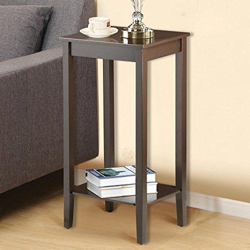 Yaheetech Tall Wood End Table Sofa Side Coffee Table Night Stand Antique Brown by Yaheetech