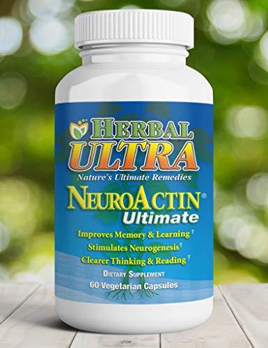 NeuroActin - Memory Vitamins, Elderly Brain Function Supplement for Healthy Brain Focus, Energy, Memory, and Mood Functions - Herbal Ultra - (60 Capsules)