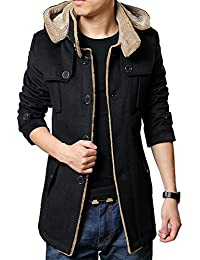 S&S Men's Slim Buckle Collar Asymmetric Chest gallery Faux Fur Coat With Hood