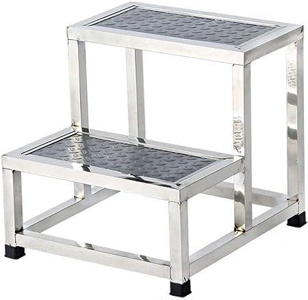 Taburete de 2 peldaños, Escalera de acero inoxidable Escalón de escalones Taburete pequeño Escalera de pedales robusta Pedal antideslizante de seguridad Multifunción Hogar Taburete de escalera plegabl: Amazon.es: Hogar
