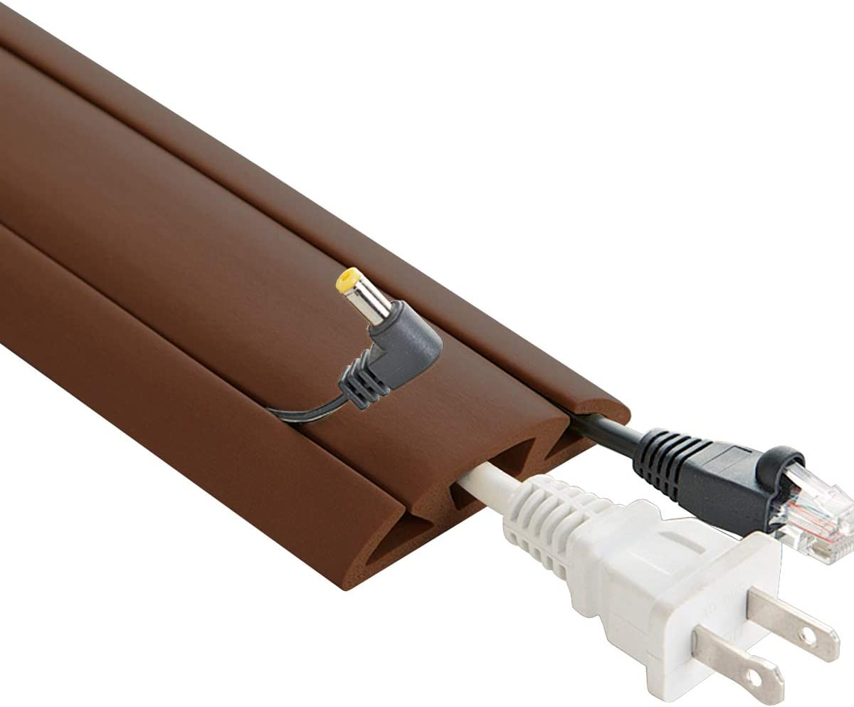 5-Feet Cord Protector with 3-Channels for Floor, Brown