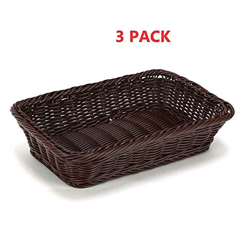 Rectangular Wicker Storage Basket for Home, Shops Small Basket (Coffee) Set of -