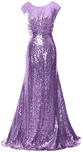 MACloth Women Long Bridesmaid Gown Cap Sleeve Sequin Formal Party Evening Dress Lavanda