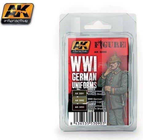 (Figure Series: WWI German Uniforms Acrylic Paint Set (3 Colors) 17ml Bottles AK Interactive)