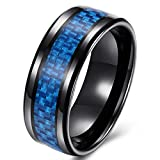 SAINTHERO Men's Traditional 8MM Wedding Bands Black Titanium Steel Blue Carbon Fiber Engagement Rings High Polish Comfort Fit Size 7