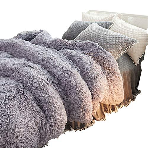 Lotus Girl - Lotus Karen 4 Piece Shaggy Bedding Set(1Duvet Cover/1Bed Skirt/2Pillowcases)-Super Soft Fuzzy Plush Flannel Bedding-Luxury Faux Fur Warm Fluffy Bed Set