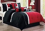 Oversized Cal King Comforter Sets 7 Piece Oversize BURGUNDY RED / BLACK Color Block