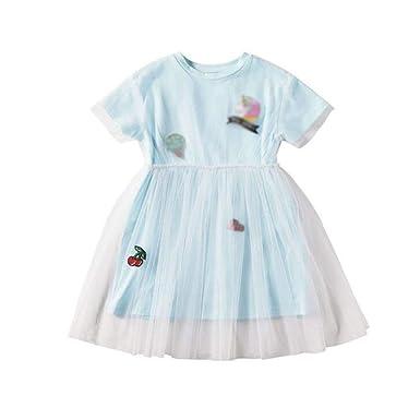 JBHURF Vestido Informal Vestido for niños niñas Malla Falda ...