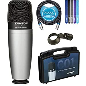 Samson C01 Hypercardioid Condenser Microphone for Studio Recording Bundle with Blucoil 10-FT Balanced XLR Cable, and 5…