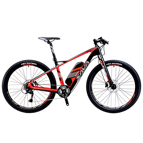 SAVADECK Carbon Fiber Electric Mountain Bike 27.5 inch e-bike Pedal-assist MTB Pedelec Bicycle with Shimano 9 Speed and Removable 36V/ 14Ah SAMSUNG Li-ion Battery (Black Red)