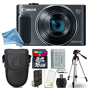 Canon PowerShot SX620 HS Digital Camera (Black) + 16GB Class 10 Memory Card + Point & Shoot Camera Case + Card Reader + Tripod + Screen Protector + Memory Card Case + DigitalAndMore Free Bundle
