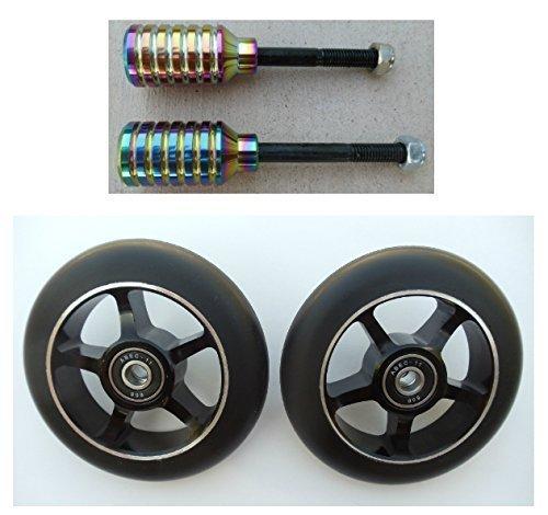 Dis 100 mm 5-spokeブラックonブラックスクーターWheels andレインボーメタリックペグセット(ペア – 2 Wheels and 2ペグ)