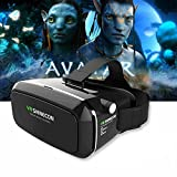 Samsung Gear Inspired V3 Virtual Reality Headset 3D Glasses VR SHINECON Similar to the HABOR VR 3D Headset For iPhone 6s 6 Plus Samsung Galaxy Series - BLACK (With VR Bluetooth Remote)