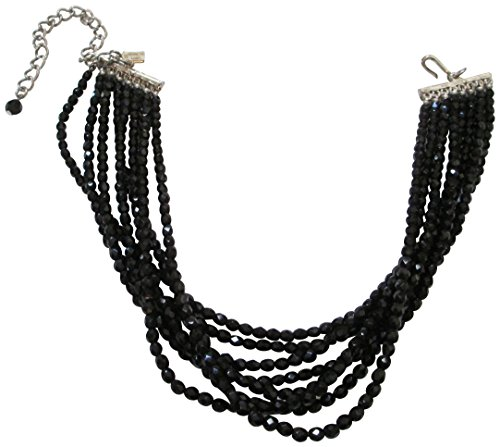 Jet Black Beaded Necklace (Kenneth Jay Lane Faceted Jet Black Beaded 8 Row Choker Necklace)