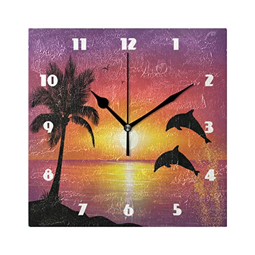 (DJROW Sunset Beach and Dolphins Square Wall Clock Oil Painting Acrylic Battery Operated Clocks Decorative 8x8)