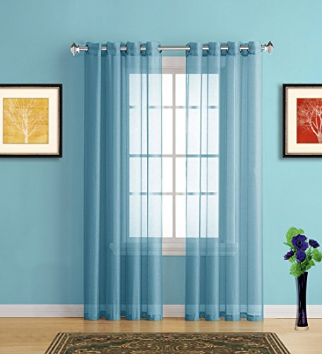 Warm Home Designs Long Turquoise Blue Sheer Window Curtains with Grommet Top for Bedroom, Kitchen, Kids Room or Living Room, 2 Voile Panel Drapes 54-Inch-by-95-Inch - K Turquoise 95'