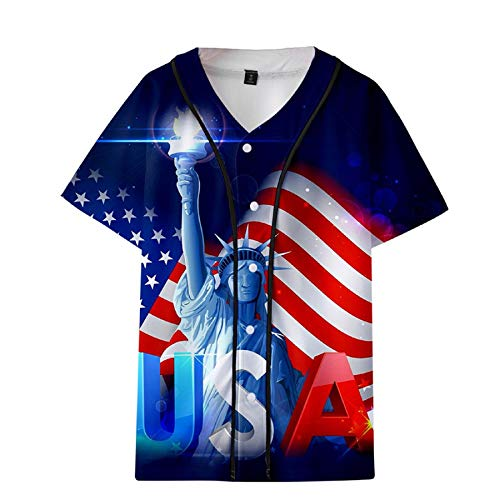 - U.S.A Men's Casual 4th of July T Shirt American Flag Statue of Liberty Print Patriotic Tops Short Sleeve Blouse (L, Blue)