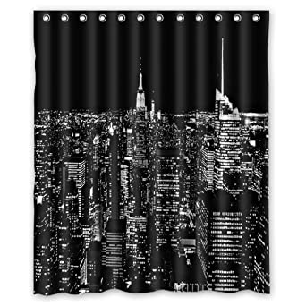 Amazon.com: New york city skyline at night Shower Curtain, Shower Rings  Included 100% WaterProof Polyester Fabric 60