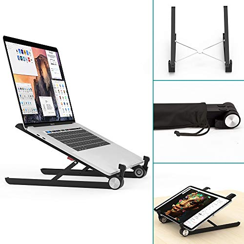 Klearlook Portable Laptop Stand, Monitor Riser, Adjustable Height & Angle Blocker, Foldable Standing Desk, Light-Weight Holder for Notebook Computer PC Tablet (Black)