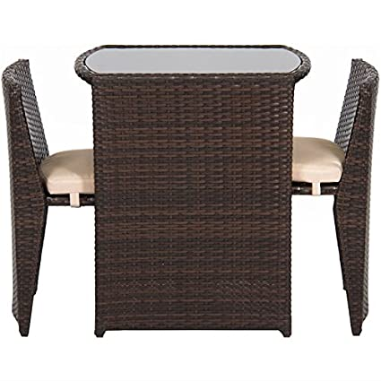 Fine 3Pcs Outdoor Wicker Bistro Set Dining Patio Lawn Garden Pool Side Furniture Chairs And Tempered Glass Top Table Removable Cushions Onthecornerstone Fun Painted Chair Ideas Images Onthecornerstoneorg