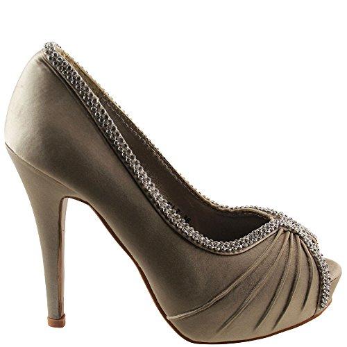 champagne stiletto chaussures en plateau noir de talon toe Élégant 36 dame peep V1566 blanc haut C8wpn7q