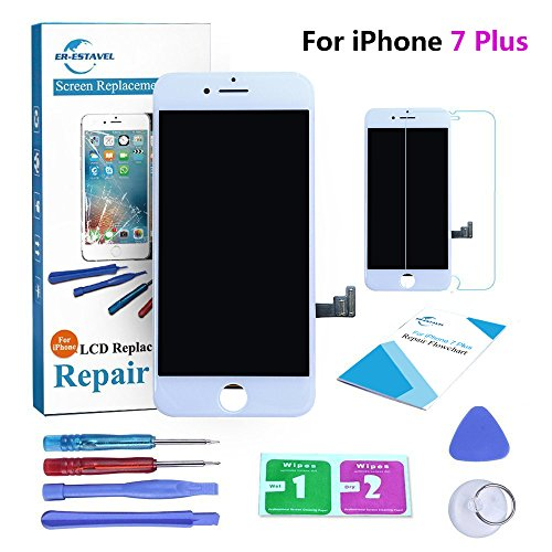 Qi-Eu LCD Display for iPhone 7 PLUS 5.5 inch Touch Screen Digitizer Replacement with 3D Touch Full Assembly - White, Repair Tools Kit and Instructions are Included