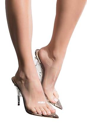 8d46a73443b CAPE ROBBIN Snake Print Textured Peep Toe Perspex Wedge Heel Slip On Sexy Mule  Sandals-