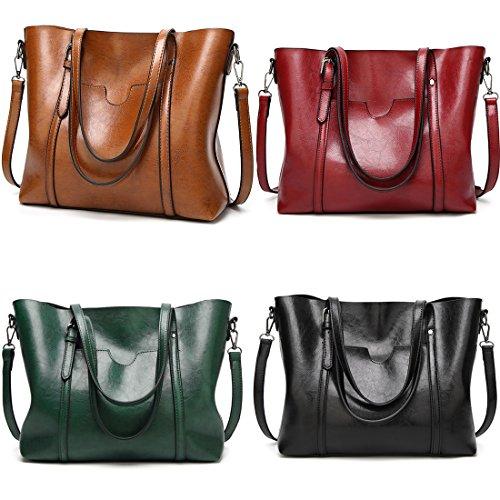 Large Women Handbags Bag Bag Bag Leather Tote Shoulder Cross Burgundy Body Vintage Casual Bag Capacity q4yWSqR