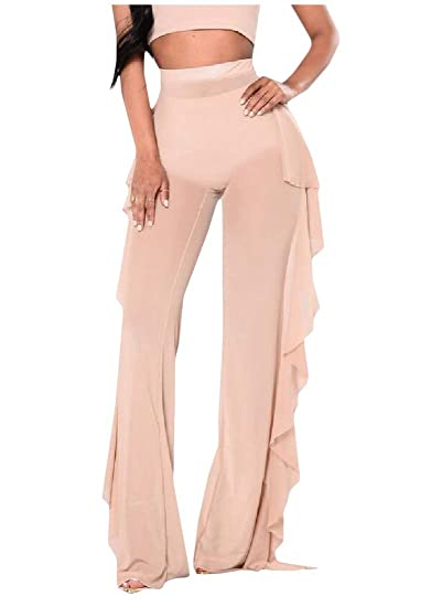 0e9a3a6ada Lutratocro Womens See Through High Rise Ruffle Mesh Wide Leg Beachwear Pants  Apricot XXS