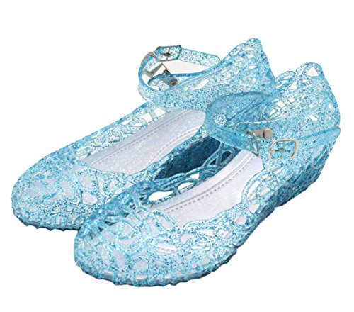 (Vokamara Cinderella Girls Soft Crystal Plastic Shoes Hollow Out Wedge Sandal Blue 30)