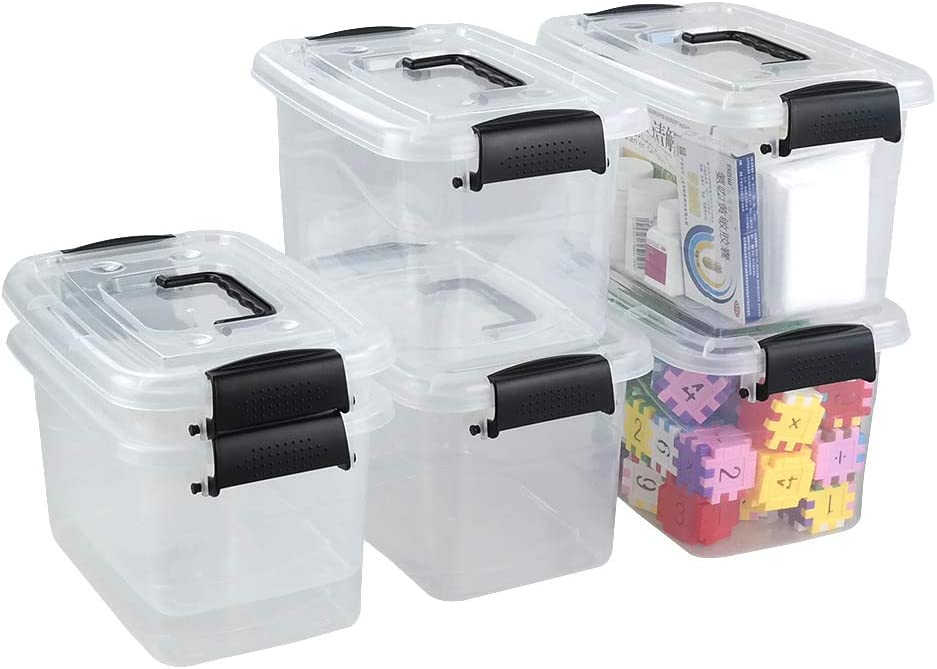Qqbine 7.5 Quart Plastic First Aid Storage Box Container with Handle and Lids, Clear and Black, 6 Packs
