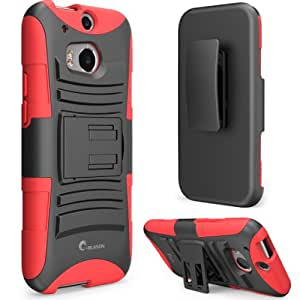 i-Blason All New HTC One M8 Case - Prime Series Dual Layer Holster Cover with Kickstand and Locking Belt Swivel Clip For HTC One Case 2014 ( Red)