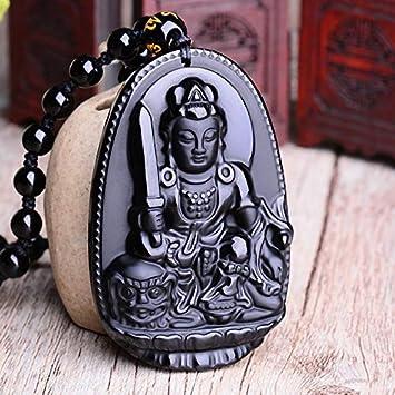 Reiki Collar Pendiente de Piedra Natural Negro obsidiana Seis Estrellas de la Suerte Amuleto Amor por Las Mujeres de los Hombres del Amor de Cristal Péndulo joyería Mobiliario (Metal Color : Rabbit)
