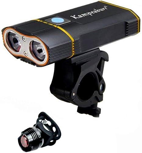 Kampeaburr: luz LED para Bicicletas de montaña (Carga USB, 1000 lúmenes, IPX6 Impermeable, Luces traseras, Faros Delanteros Desmontables para Faros nocturnos para niños, Mujeres y Hombres): Amazon.es: Deportes y aire libre