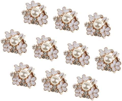 Lovoski 10個入りセット 花タイプ DIY 洋服 飾り 人工真珠 ラインストーン 装飾ボタン 縫製ボタン  おしゃれ 優雅 魅力 上品