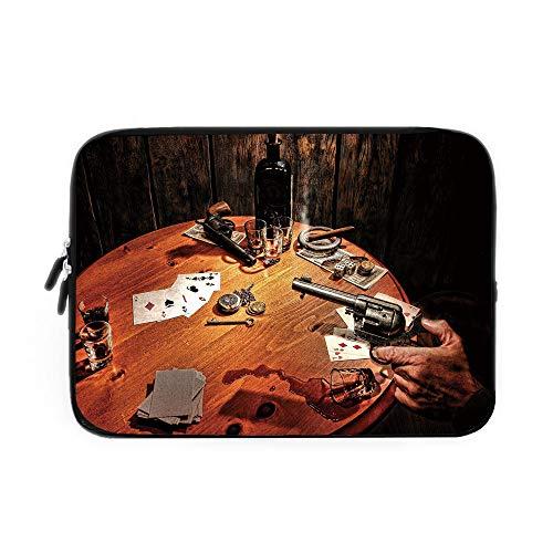 Western Laptop Sleeve Bag,Neoprene Sleeve Case/Gambler Holding a Revolver Gun Poker Cards Table Drinks Cigars Dark Saloon Decorative/for Apple MacBook Air Samsung Google Acer HP DELL Lenovo A