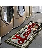 Pauwer Laundry Room Rug Runner Non Slip Natural Rubber Waterproof Kitchen Rug Floor Mat Inside Doormat