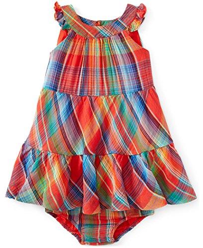 Ralph Lauren Polo Baby Girls Madras Pattern Dress and Bloomer (9 (Ralph Lauren Polo Girls Madras)