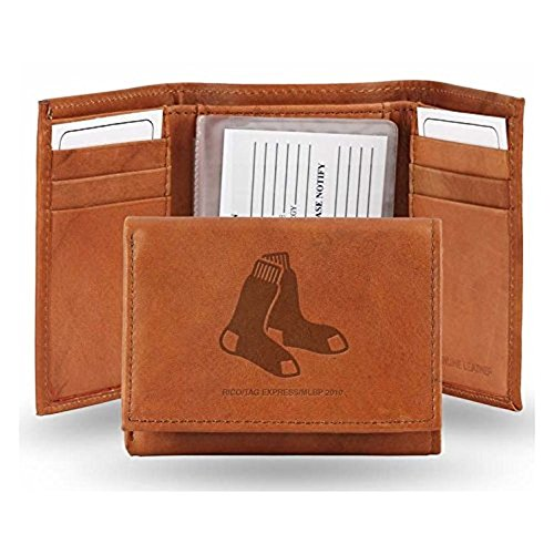 MLB Boston Red Sox Rico Embroidered Trifold Wallet - Boston Red Sox, Black, Small